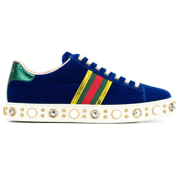 e6b982784cb Gucci faux pearl embellished striped sneakers (3.525 BRL) ❤ liked on  Polyvore featuring shoes