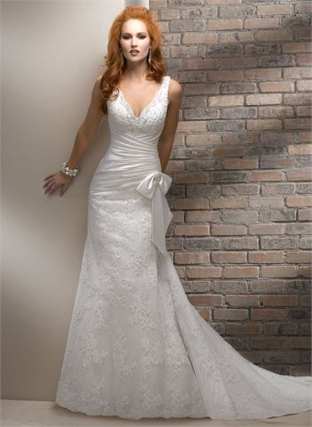 Off-the-shoulder V-neck With Lace Appliques and Bow Tulle Wedding Dress WD1885 www.tidedresses.co.uk $339.0000