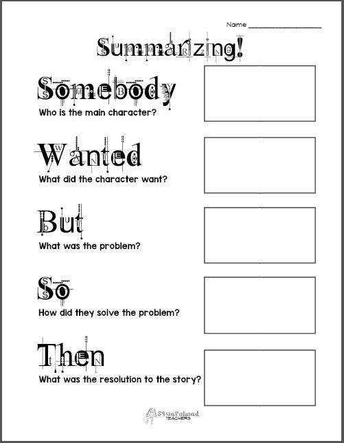 Free Printable Summarizing Graphic Organizers (Grades 2-4 - free printable t chart