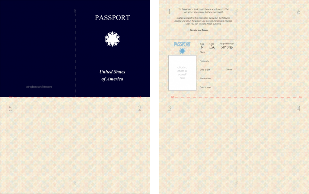 Free kid 39 s printable passport great for playing spies for Passport photo print template