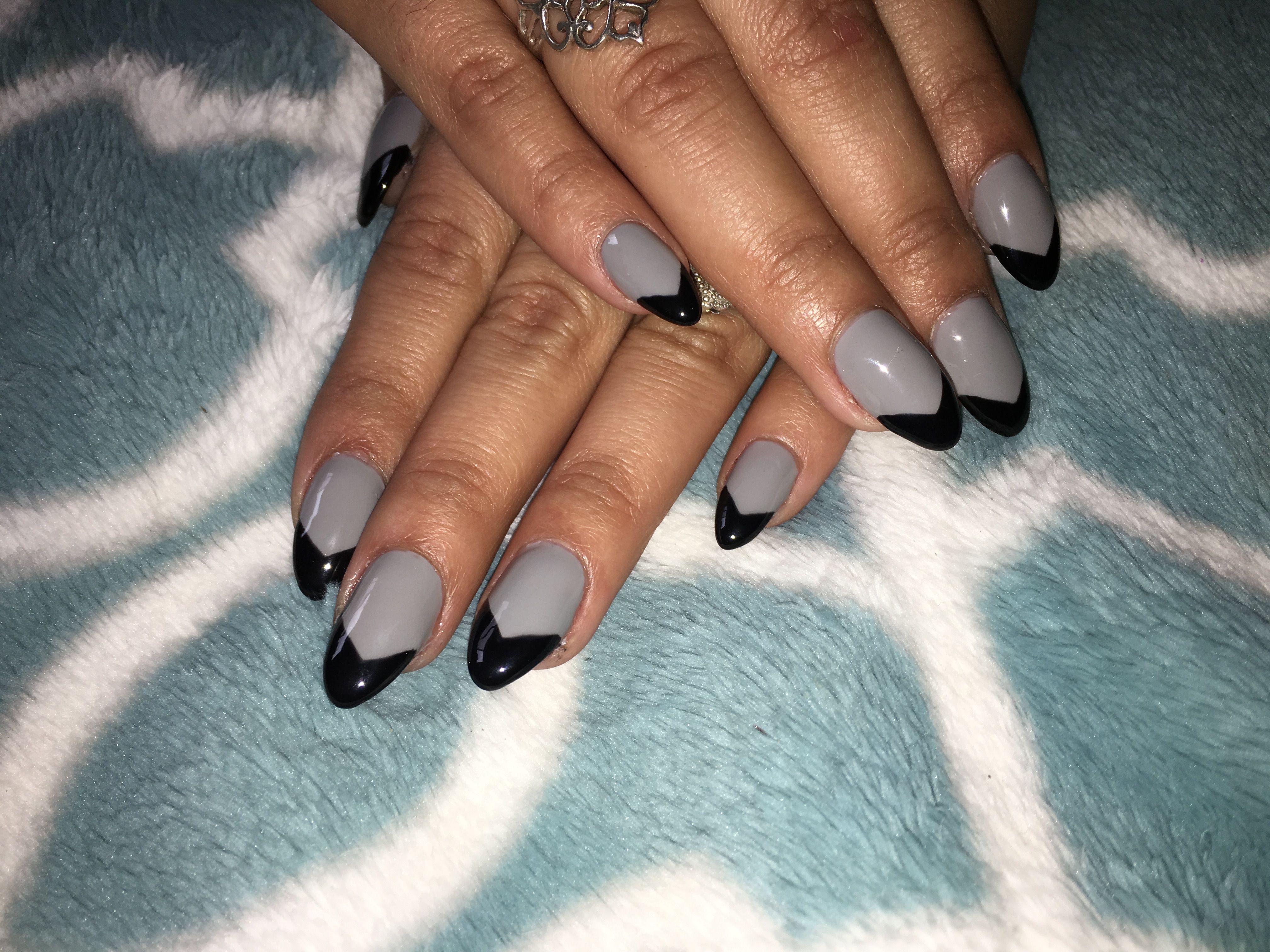 Grey, black sharp French tip nail | Nails | Pinterest