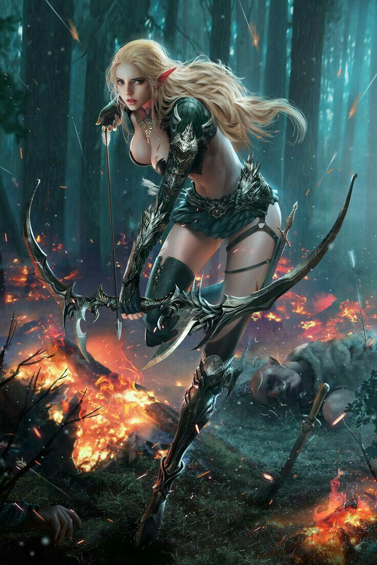 Female Elf Ranger Archer Pathfinder PFRPG DND D&D d20 fantasy