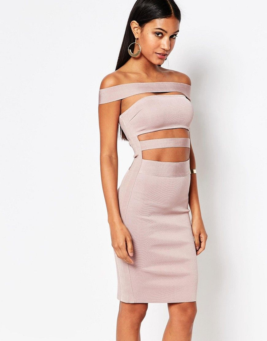 WOW Couture Off Shoulder Bandage Dress - Pink  04efcee63183