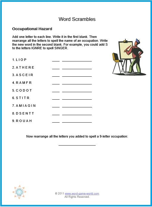 Printable Word Jumbles for Your Fun  Entertainment