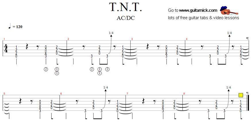 Tnt Acdc Rock Guitar Tab Jax And Lucy The Guitar Pinterest