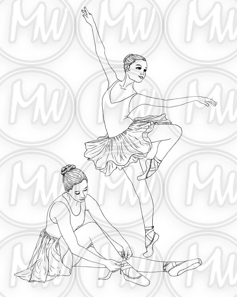 Ballerina Dance Printable Coloring Page Digital Stamp Etsy Coloring Pages Ballerina Coloring Pages Dance Coloring Pages