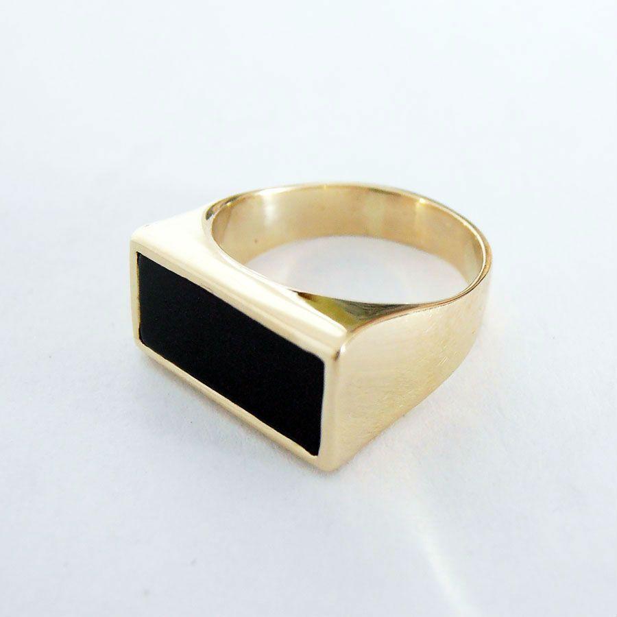 Details About 14k Gold Signet Ring Rectangular Black Onyx