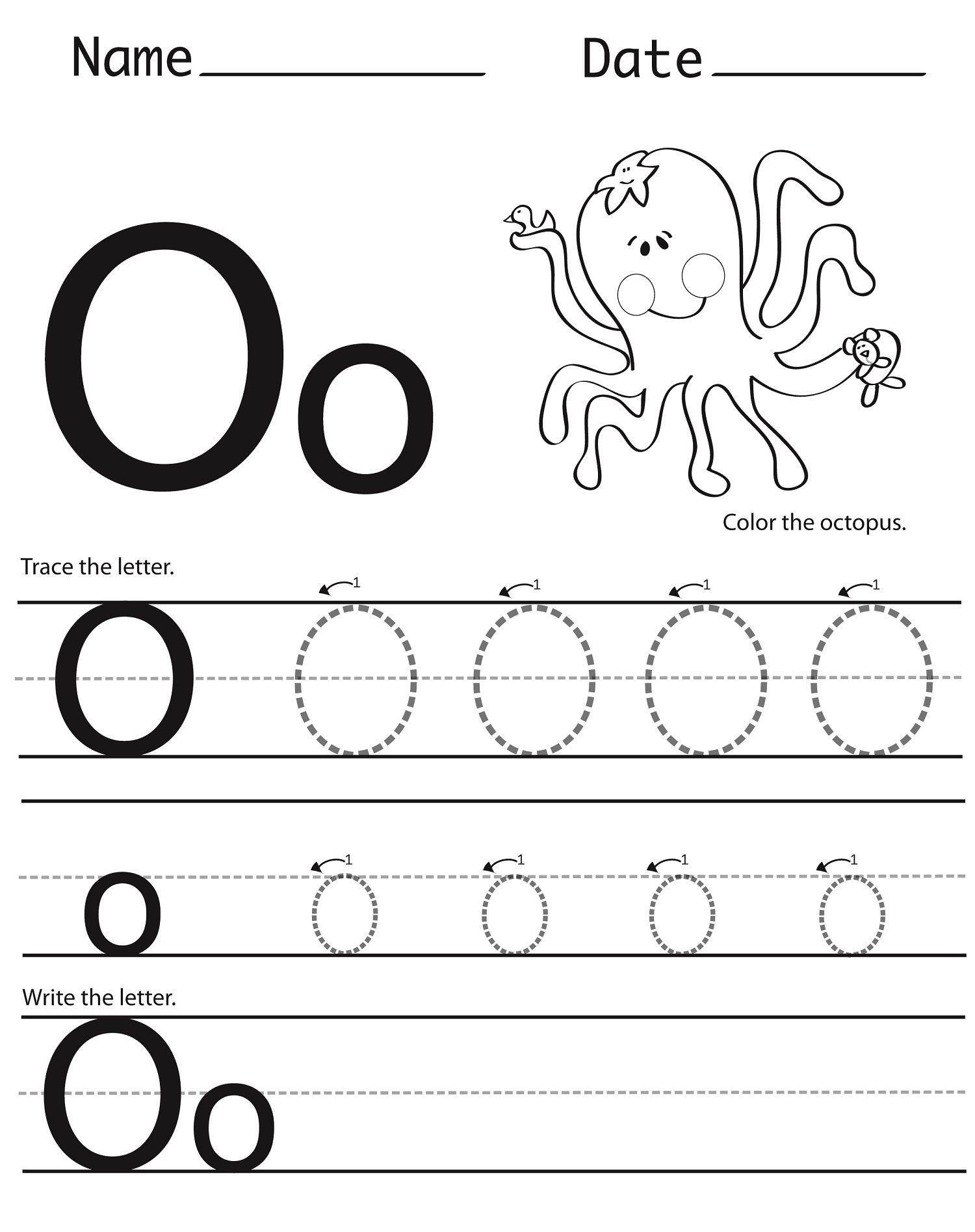 Letter O Worksheet For Alphabet Learning | Dear Joya ...
