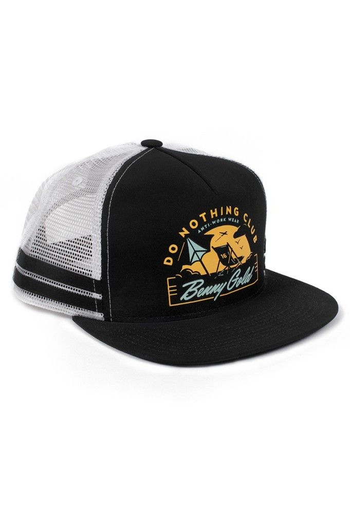 b4953c27758f4 The Do Nothing Club Snapback Hat from Benny Gold is a mesh trucker hat with  screen print at front panel and adjustable snaps at back.