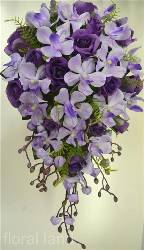 Teardrop Flowers Silk Wedding Bouquet Artificial Flower Purple Lilac Rose Orchid .