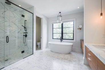 Good set-up for master suite with multiple cabinet spaces and a separated toilet.