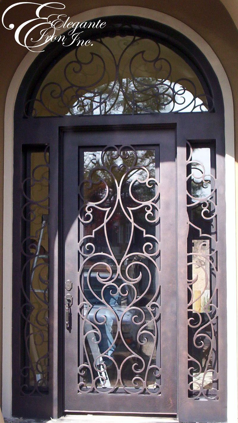 Custom Front Door With Side Lights And Arched Transom Single
