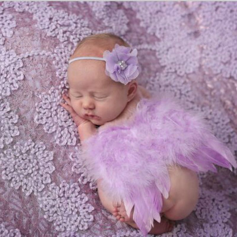 Baby Flowers Headband /& Feather Angel Wings Photo Props Children Photography~