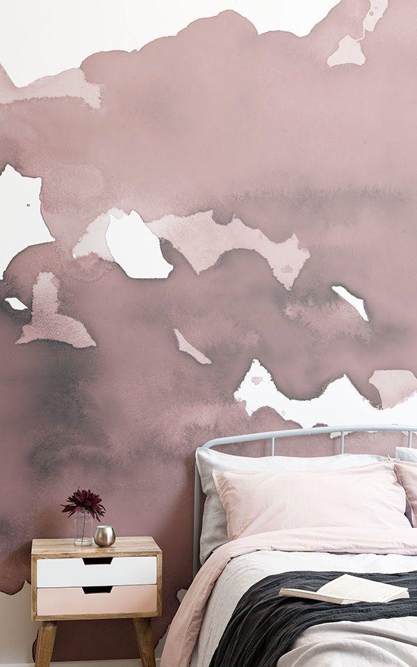Rosa murale carta da parati acquerello astratto | Sfondi di carta da ...