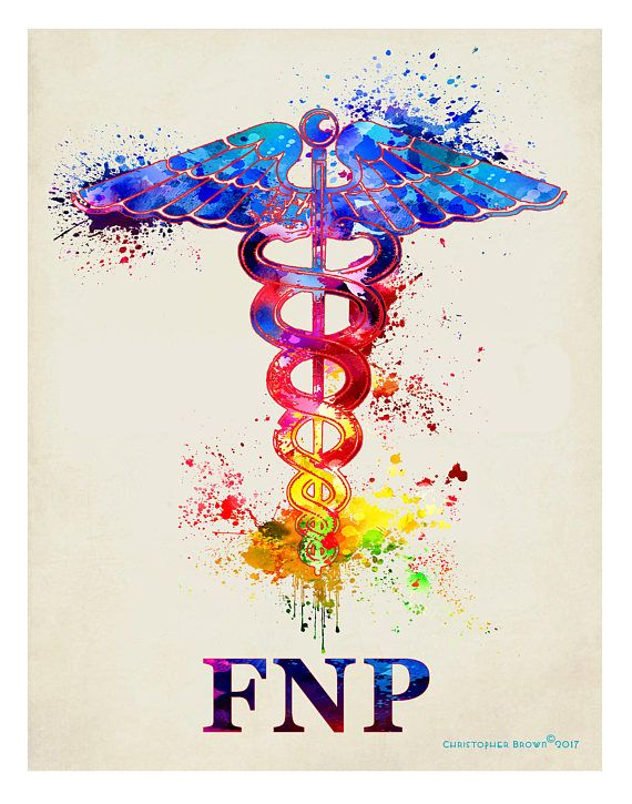 Watercolor Family Nurse Practitioner Fnp Caduceus 11x14