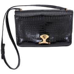 80d0578c6487 1980 s Hermes Black Crocodile Shoulder Bag