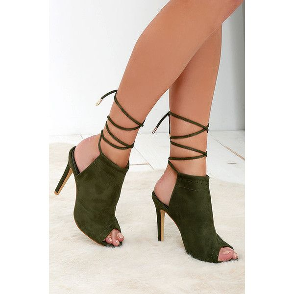 07adf3a23dc2 In the Running Olive Suede Lace-Up Heels ( 34) ❤ liked on Polyvore  featuring shoes