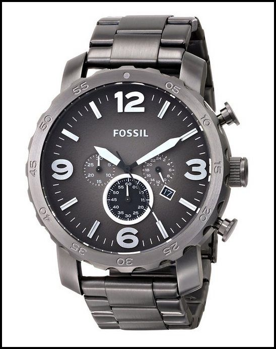 5a9a1ba4b027 Reloj de acero inoxidable Fossil JR1437 Nate los hombres del cronógrafo de  humo