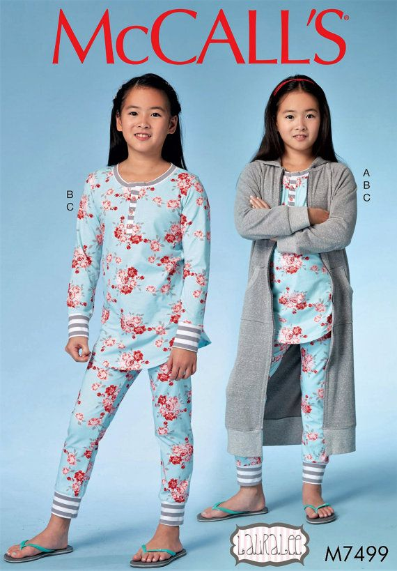 519d29452 Girls  Stretch Knit Pajamas and Robe Pattern Tween by blue510 ...