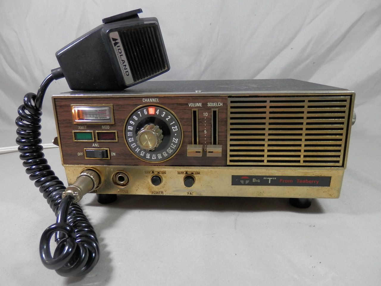 vintage teaberry big t cb radio base station midland mic 23 channel -  working by…