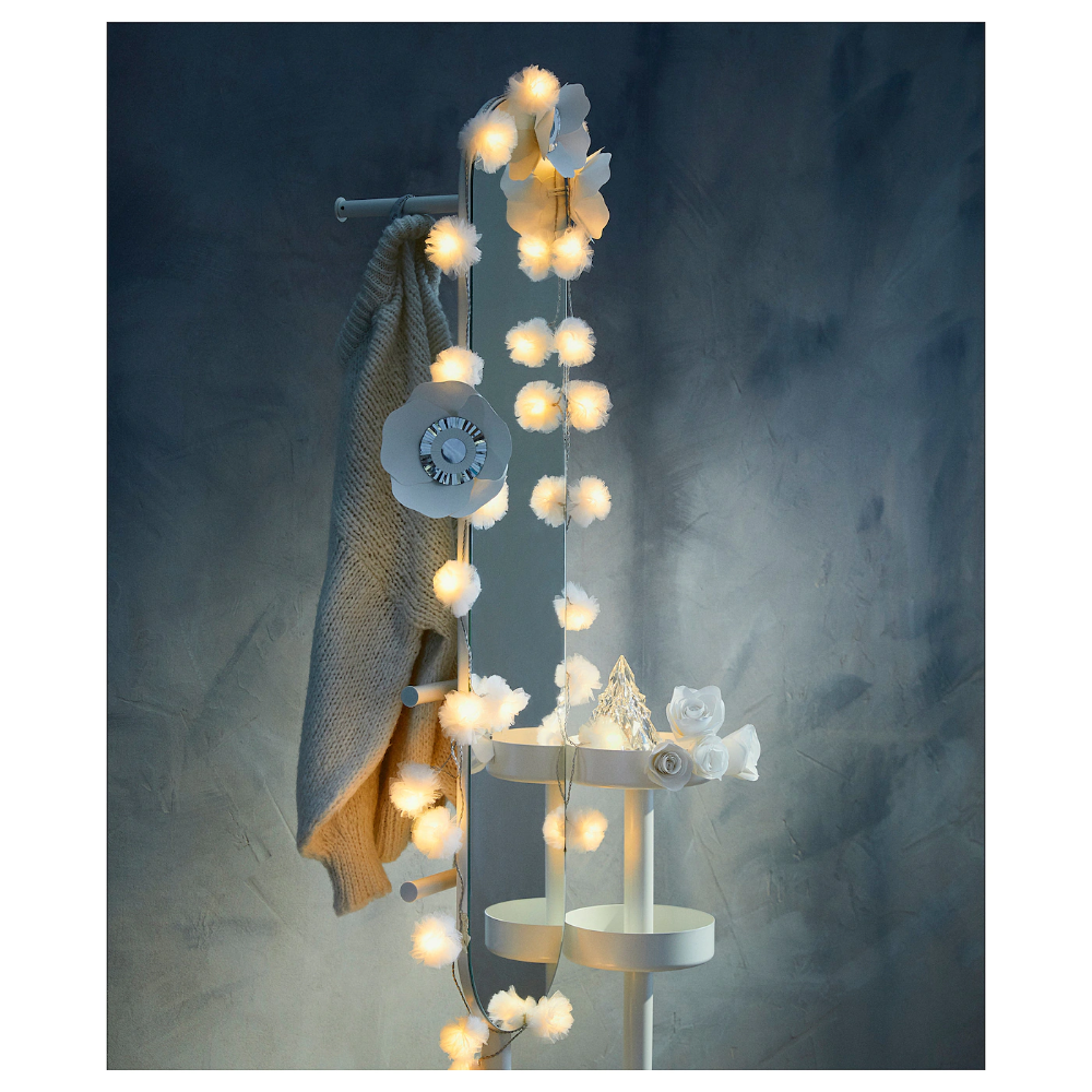 Livsar Led Lighting Chain With 24 Lights Indoor Tulle White Ikea Ireland In 2020 Lighting Chains Light Decorations Led Lights