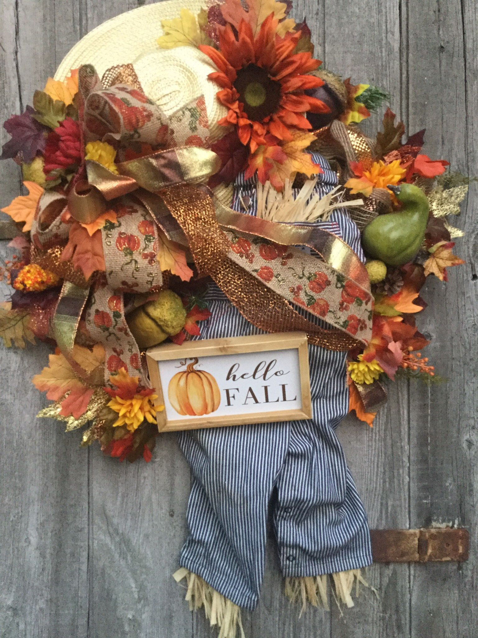 HELLO FALL SCARECROW Fall large wreath- leaves, flowers, scarecrow wreath- Thanksgiving wreath #scarecrowwreath Excited to share this item from my #etsy shop: HELLO FALL SCARECROW Fall large wreath- leaves, flowers, scarecrow wreath- Thanksgiving wreath #scarecrowwreath