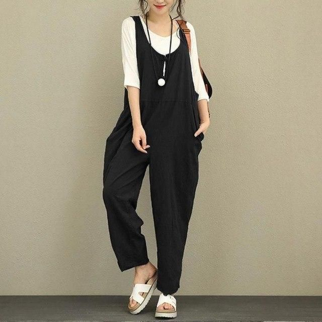 c161412605 Women Strap Loose Overall Pants 2018 Jumpsuit Casual Dungaree Harem  Trousers Stylish Girls Ladies Plus size Trousers