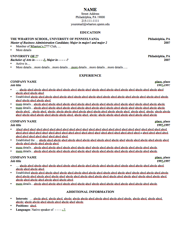 Wharton Resume Template Examples Free Resume Sample Resume Template Examples Sample Resume Templates Resume Template
