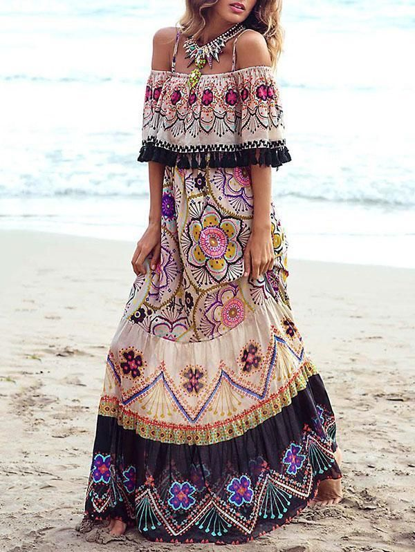 85 Stunning Bohemian Style Interior Design Ideas For Your: Bohemia Off-the-shoulder Maxi Dress No Reviews In 2019