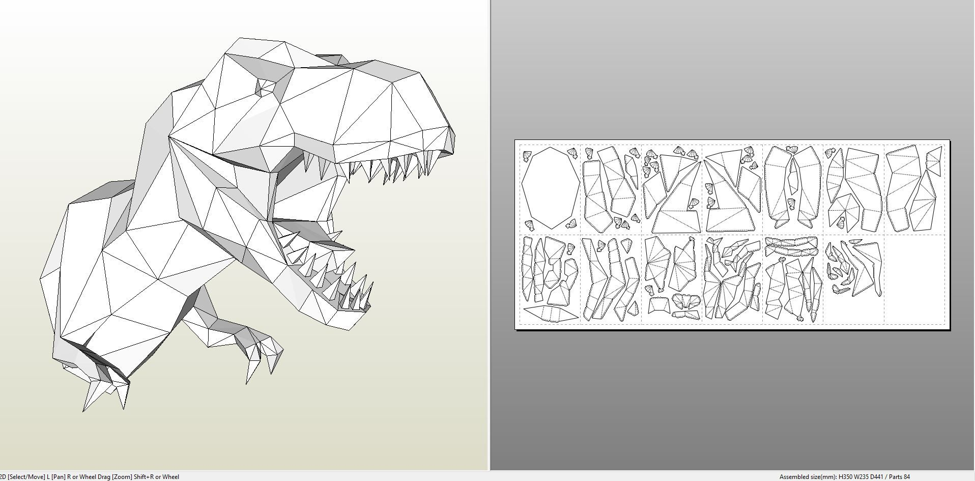 Papercraft .pdo file template for Animal - Tyrannosaurus Wall Bust ...