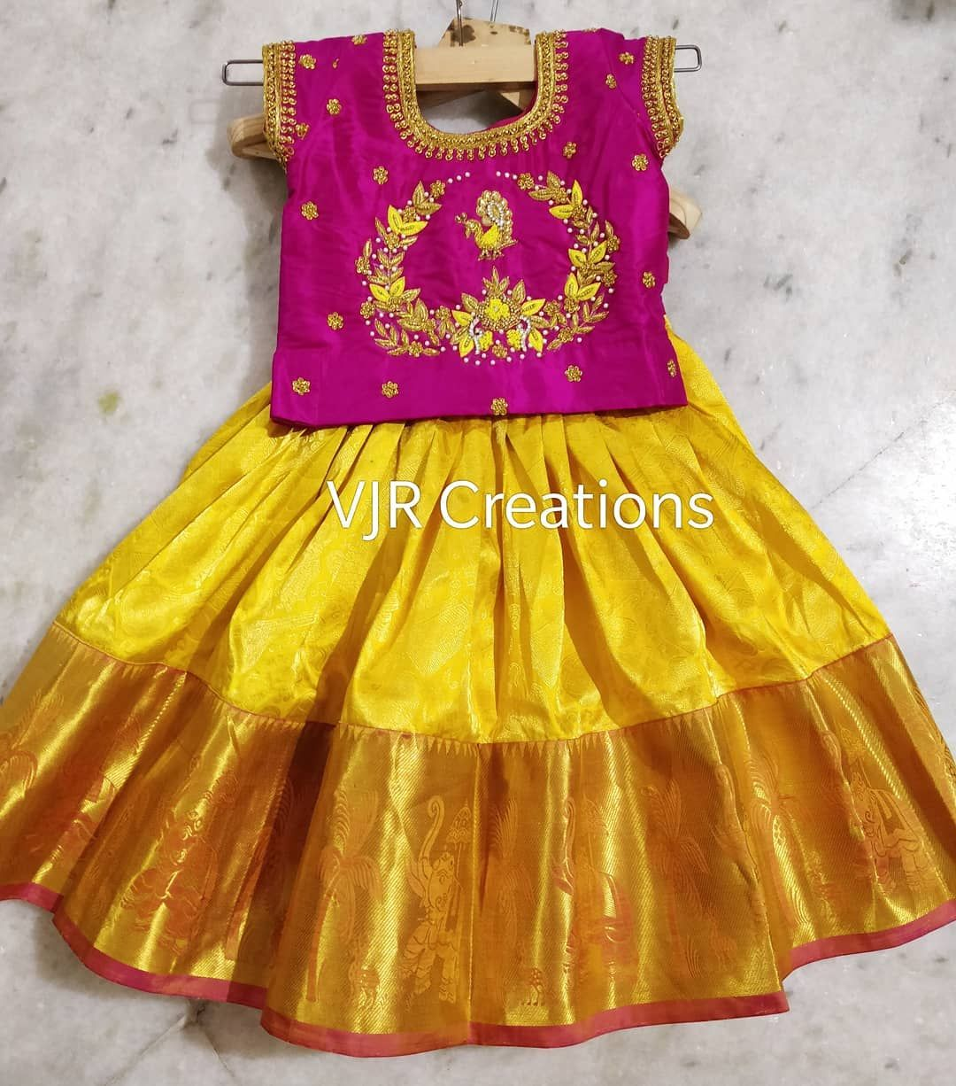 Kanchipattu Langa Blouse For Kids Pink And Yellow Combo Maggam Work Indian Wear To O Kids Blouse Designs Kids Frocks Design Kids Designer Dresses