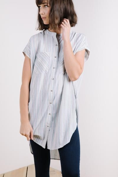 10f7332d The Colette Striped Button Up in Blue – Piper & Scoot | fashion ...