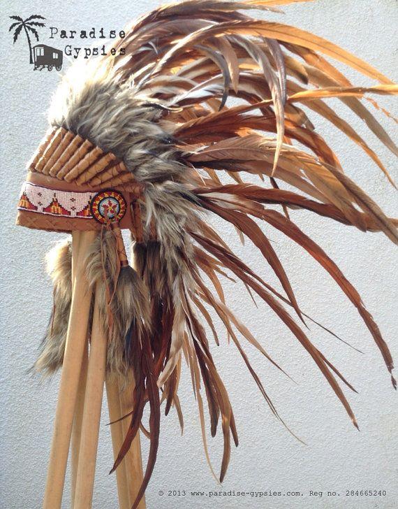 c8bac803b4bd2 Completo el tocado de la pluma marrón Natural por ParadiseGypsies ...