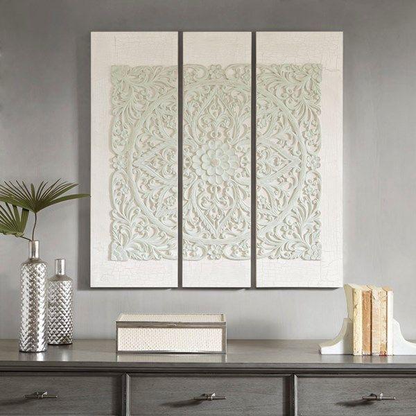 wooden mandala grey 3d embellished canvas wall art decor on canvas wall art id=95412