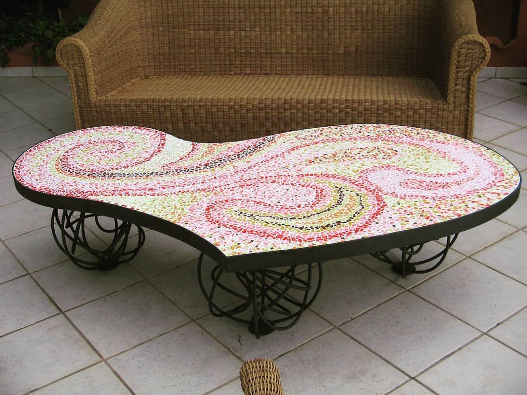 Tavolo toscano ~ Tavolo in ferro battuto e vetro mosaico robertaomodeizorini