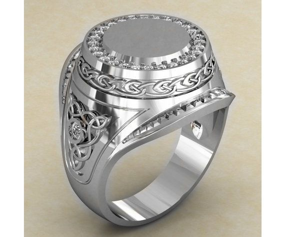 0ca68aa67b8 Antique Style Sterling Silver Mens Signet Ring, Large Mens Signet ...