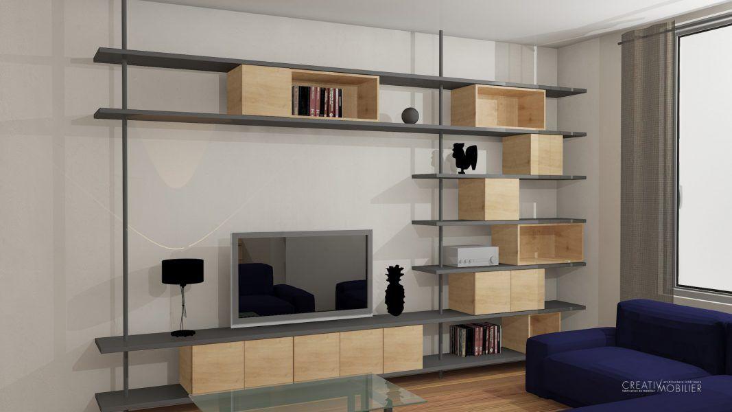 bibliotheque #tv #mobilier #architecture #design #deco #metal