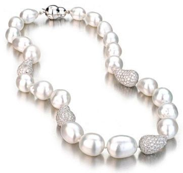 South Sea Pearl Baroque Necklace With Diamond Bean Enhancers And Etoil   A. M. DePrisco