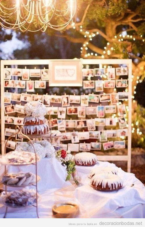 un tablero lleno de fotos idea bonita para decorar boda