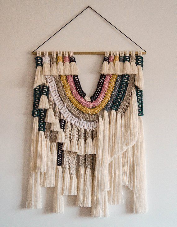 """Macrame Textile Art – Macrame Wall Art – """"arc-en-ciel"""" – Macrame Wall Hanging – Woven Wall Hanging Children's room"""