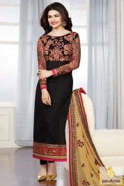 Black Color Chiffon Straight Cut Party Wear Salwar Suits Online ...