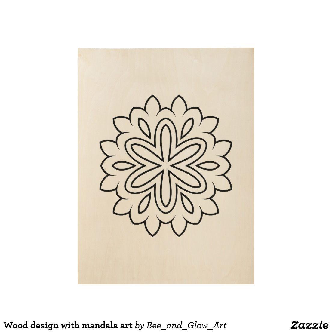 Wood design with mandala art