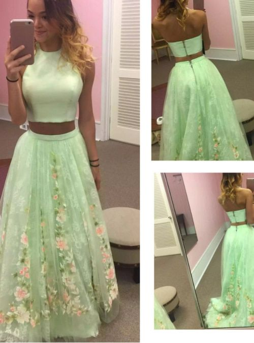 Two Piece Green Sleeveless Formal Evening Gowns Party Dress ...