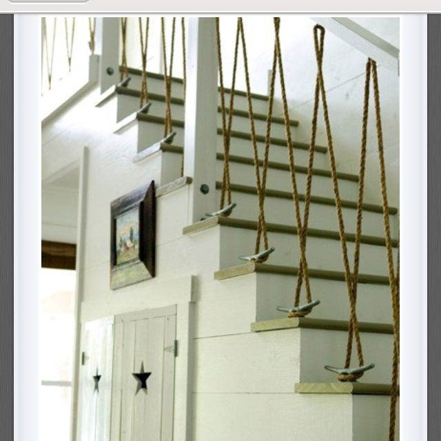 Stair Designs Railings Jam Stairs Amp Railing Designs: Rope & Cleats, 1x Wall Covering W/ Visible Gap, Star In