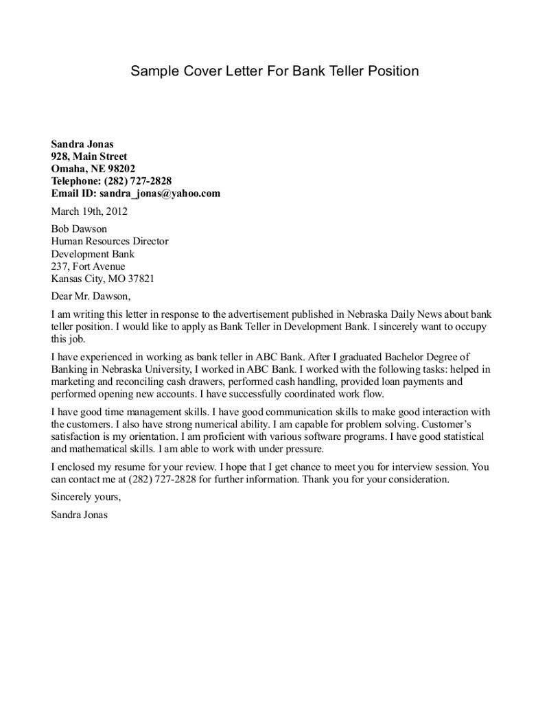 Sample Cover Letter For Bank Teller Position - Sample Cover Letter ...
