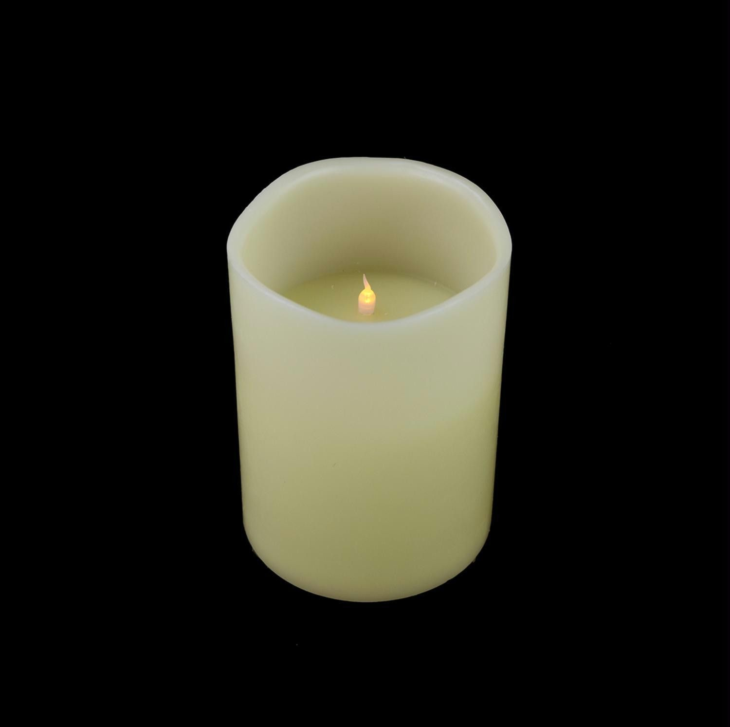 """8"""" Ivory Battery Operated Flameless LED Lighted 3 Wick Flickering"""