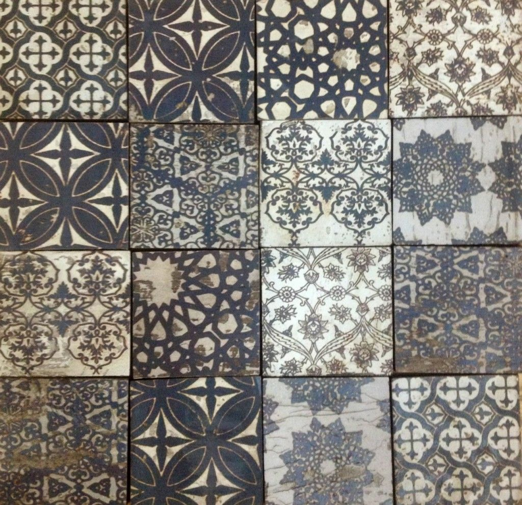 Moroccan tile design black off white browns tribal for White cement tiles