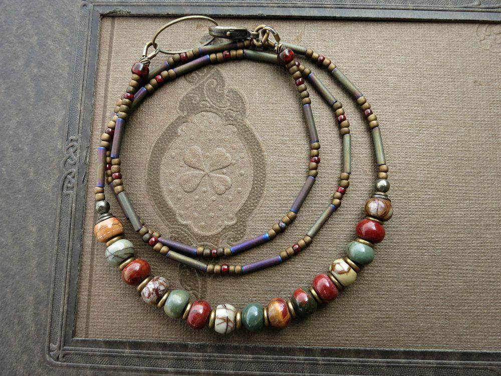 Earthy Mandala Tibetan Style Pendant Stone Necklace