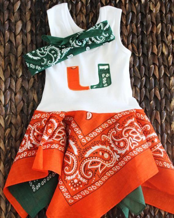 c83fd0f0d UM inspired baby dress, Miami Hurricanes baby girls dress, The U bandana  dress and headband set, gre