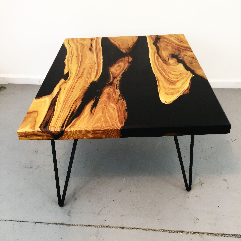 Black epoxy recycled wood table nice wood resin